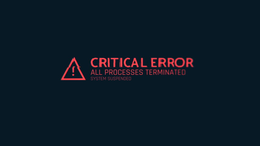 Critical error message flashing on screen, computer malfunction, hacking attack. Computer system crash, error message on screen | Shutterstock HD Video #1007976745