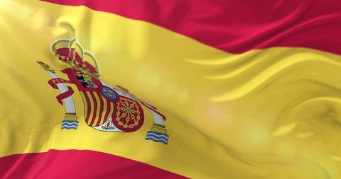 Spain flag waving at wind in slow, loop