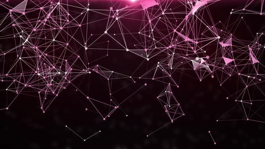 Plexus of abstract purple geometrical lines with moving triangles and dots. Loop animations. | Shutterstock HD Video #1007991295