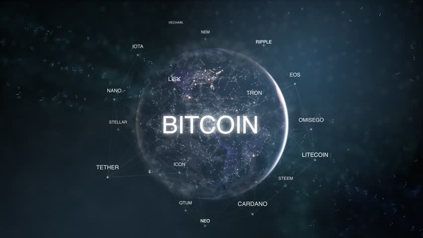 Futuristic bitcoin,ethereum,litecoin, ripple,neo,cash cryptocurrency words cloud blue modern animation loop. 3D technology earth from space altcoin word set.Crypto business concept.Loopable 4k video
