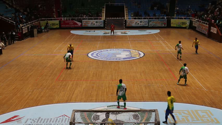 ISLAMABAD, PAKISTAN - February 18, 2018 - Futsal Cup final match being played between Pakistan and Brazil teams in Liquat Gymnasium at Islamabad Sports Complex.