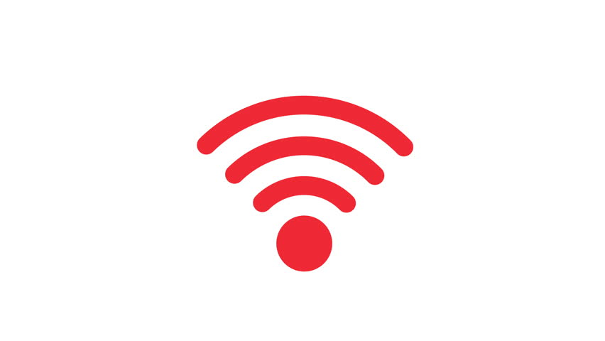 red icon connection to the wifi point with a changing level of signal, wireless network icon, wifi symbol
