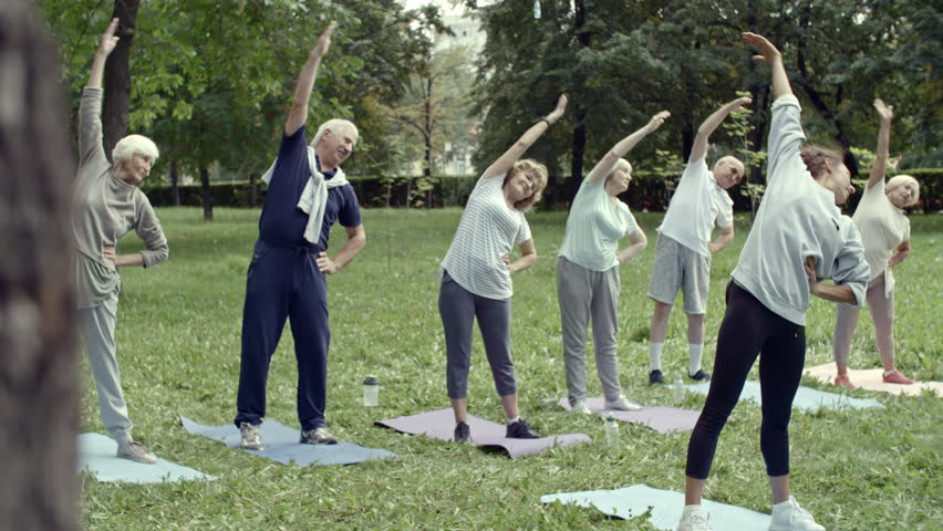 Tilt down shot of six elderly people and their trainer performing stretching exercise during group workout in park #1008046915