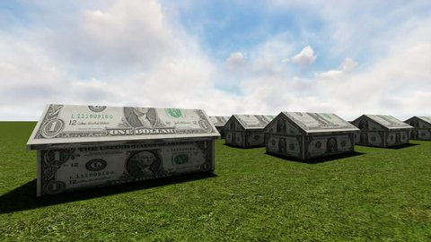 House made of cash and key.Real Estate Finance concept
