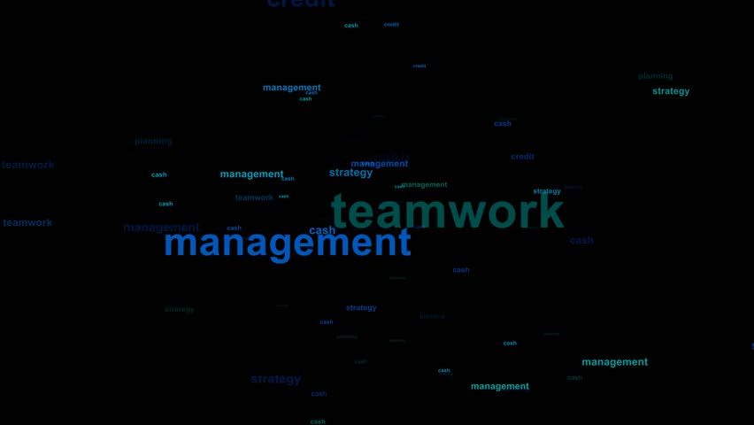 Word cloud / tag cloud / text array - business (more than 30 business words, spreading animation) black background - greenish and blue words