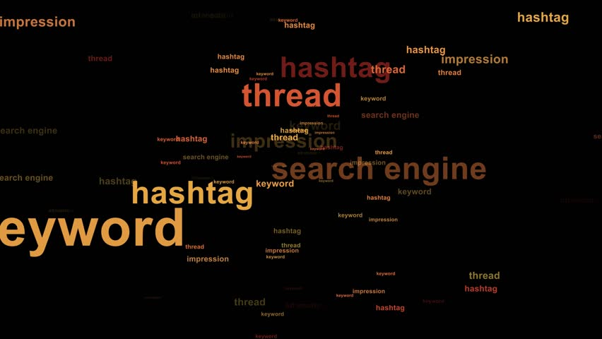 Word cloud / tag cloud / text array - web marketing words (more than 30 web marketing words, spreading animation) black background - orange words