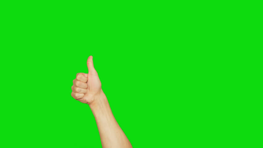 Right hand giving thumb up isolated on green background. Good symbol. Alpha channel, keyed green screen. transparent background.