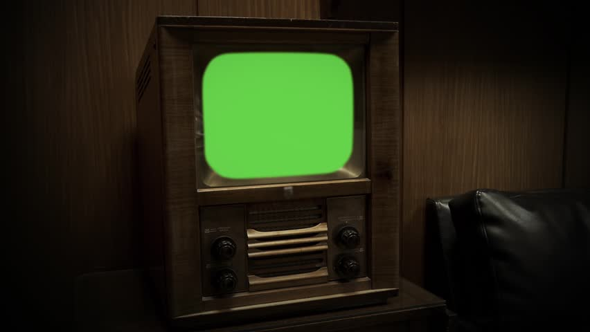 Vintage Television with Green Screen. Sepia Color.  Ready to replace green screen with any footage or picture you want. Zoom In. | Shutterstock HD Video #1008138925