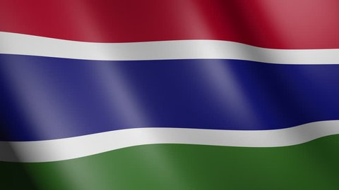 Flag of the Gambia with fabric texture, seamless loop