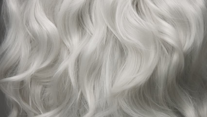 Curly large white grey eldery hair moving slowly 24 fps from 60fps | Shutterstock HD Video #1008164665