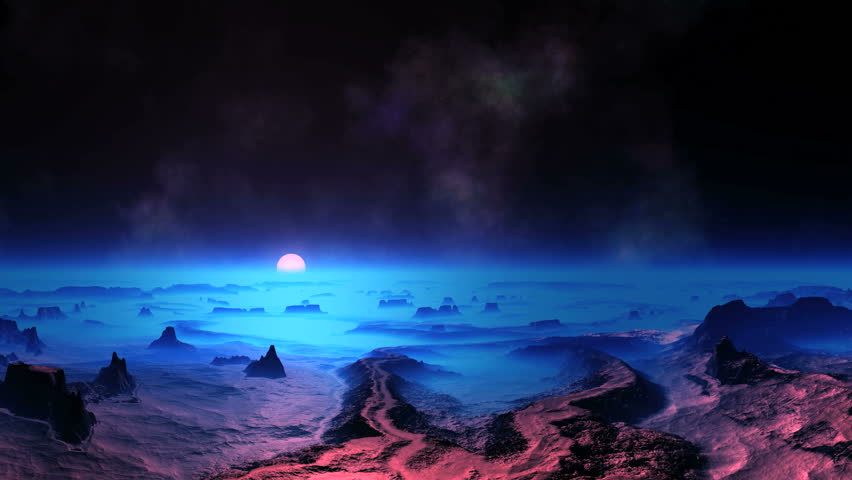 Blue Sunset on Alien Planet. Rocky desert covered with a thick blue mist. On the horizon a bright white sun. On a dark night sky, the stars and nebulae.