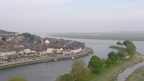 Saint-Valery-sur-Somme drone aerial footage. A medieval popular village of the Somme department, in northern France / Images aeriennes par drone de Saint-Valery-sur-Somme.