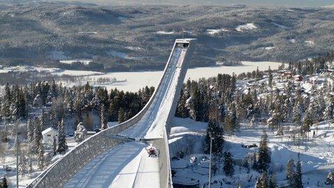 Drone shot at Holmenkollen Oslo, Norway, fast side