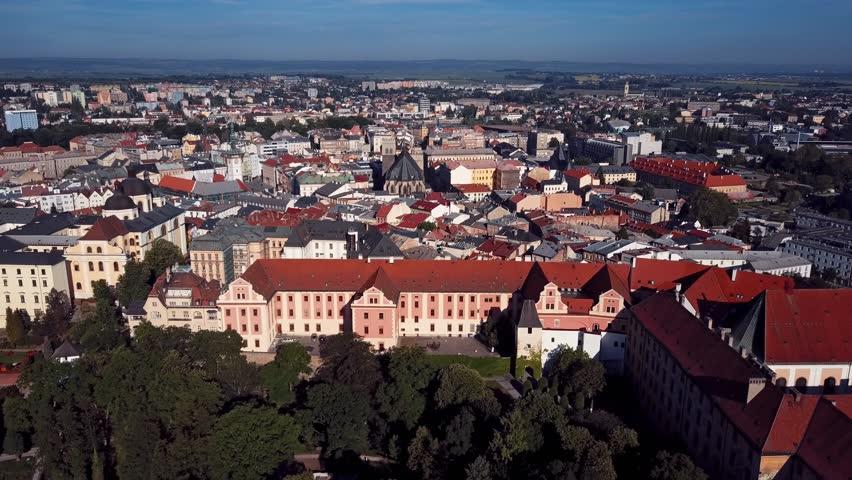 Aerial view of Olomouc old town, Moravia, Czech Republic.