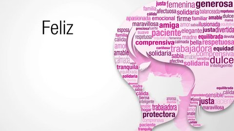 Greeting card with message Feliz Dia de la Mujer - Happy Women's Day in Spanish language. Start with a cloud of words in pink and purple colors that appear one by one to form the silhouette of a woman
