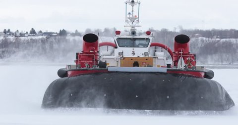 Quebec, Canada - March 2018 - Large view of hovercraft operating on ice.