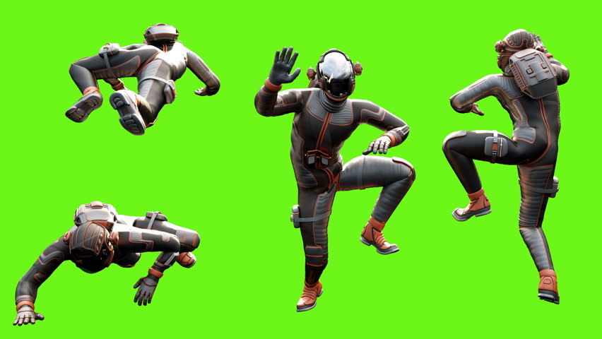 Sci fi man crawls. Loopable animation on green screen. 4k. #1008276685
