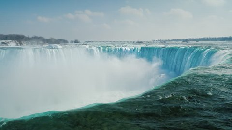Epic scene of Niagara Falls. A waterfall in the shape of a horseshoe, ice floes float along the water. Tourism in winter concept