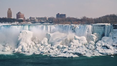 The frozen Niagara Falls and the American coast. View from the Canadian side