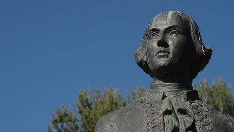 Face sculpture of Bernardo de Galvez, independence hero of United States
