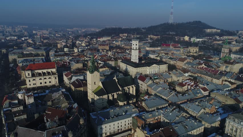Lviv city, ukraine, down town center buidings, drone flight winter timelapse | Shutterstock HD Video #1008304315