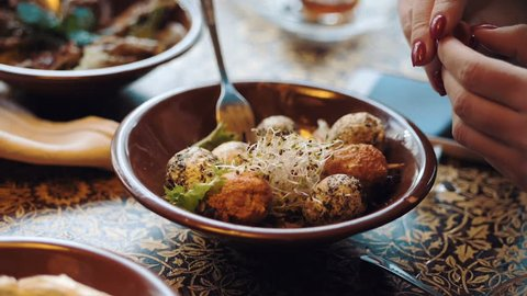 Lebanon cuisine served in restaurant. Traditional meze lunch. Close up