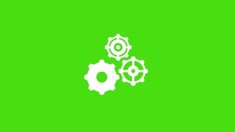 Three Cogs working loading screen style motion background. White Rotating gears of different sizes on green background 4K