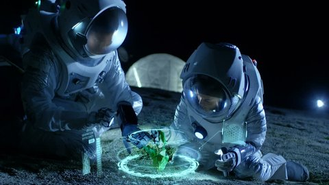 Two Astronauts Analyzing Plant Life Found on Alien Planet. Infographics Show Animated Data about Oxygen Generation, DNA and Molecular Structure. Technological Advance and Space Exploration. 4K UHD.