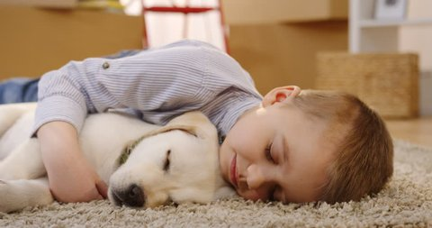 Close up of the cute little boy sleeping on the floor covered with a carpet and hugging a labrador puppy in the living room full of boxes. Indoors