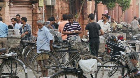 AMRITSAR, INDIA - OCTOBER 2014: Newspaper bicycle distribution center in Amritsar, India