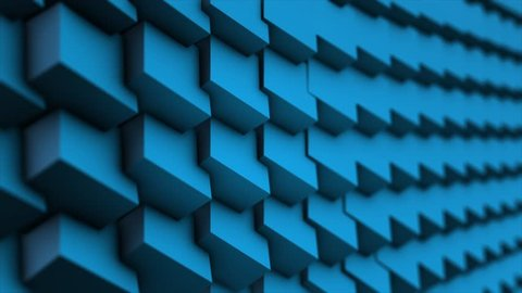 Transforming Cubes wall background. Abstract Cubes Background Random Motion, 3d Loopable Animation. Blue cubes