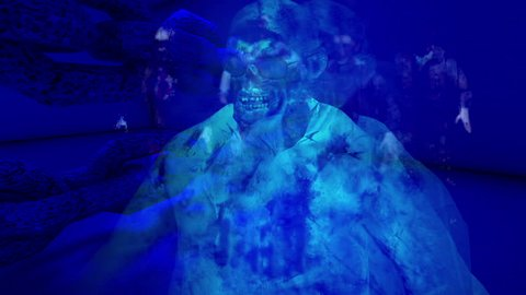 Horror Zombie with Effects, mixed media of two CG animation