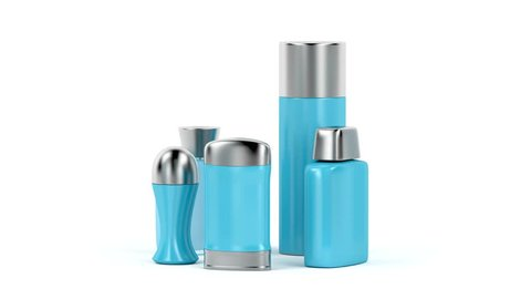 Set of men's cosmetic products (perfume, body spray, antiperspirant deodorants and aftershave lotion)