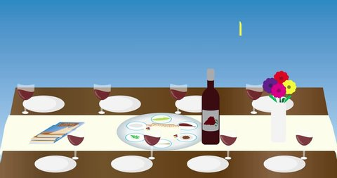 Passover jewish Holiday Seder table and greeting animatiom