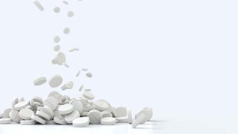 3D Animation of mixed pills, slow motion falling down and landing.