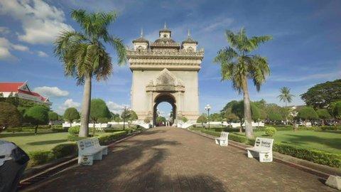 Timelapse walking through Patuxai Arch of Triumph