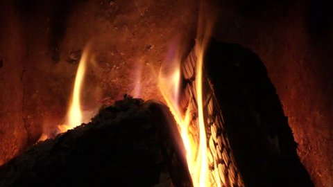 Winter evening by the fireplace