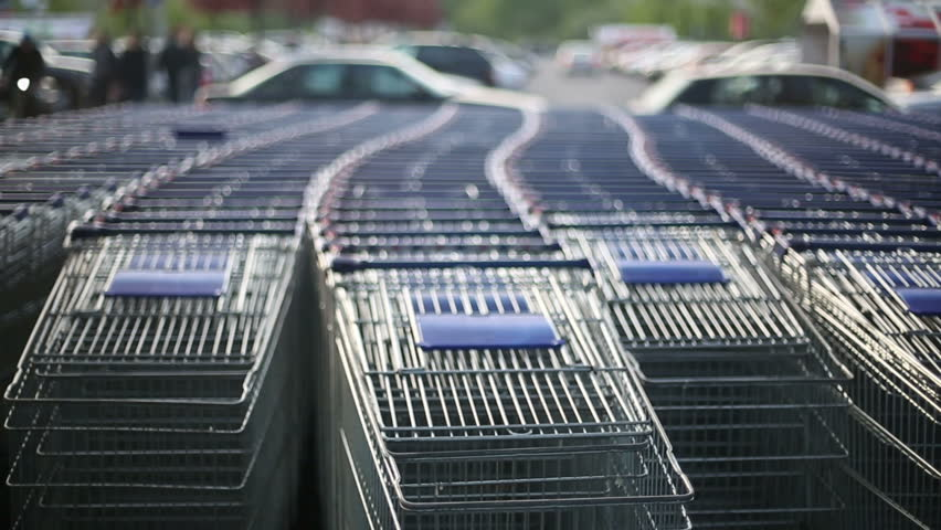 A lot of shopping trolleys near mall | Shutterstock HD Video #10084985