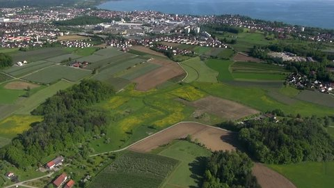 Flight over Lake Constance (Bodensee) near Friedrichshafen with a zeppelin, may 2013, landscape in southern Germany,view to vineyards,apple orchards,agriculture, spring time,