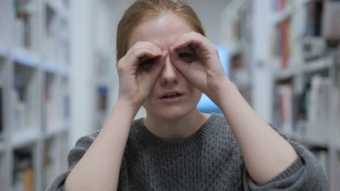 Searching Young Woman, Finding with Handmade Binoculars