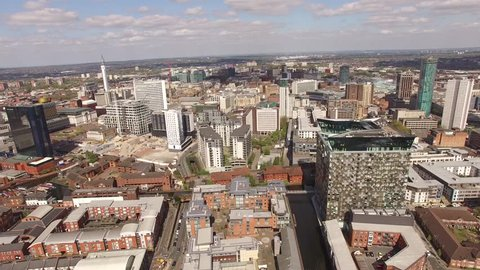 4k Aerial Birmingham Uk with Mailbox, Cube, Hilton Hotel, Birmingham council and city scape, smooth backward shot