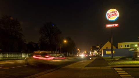 MOERS / GERMANY - DECEMBER 31 2016 : Cars passing the Burger King Drive in