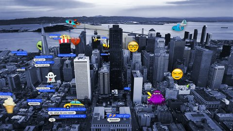 Aerial view of San Francisco with several text messages and emojis. All emojis and texts created and designed by us. SF aerial footage and aliens animations already in my portfolio.