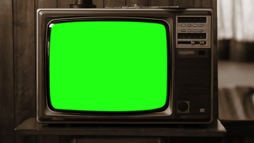 80s Television with Green Screen. Sepia Color. Zoom Out. Slow. #1008696175