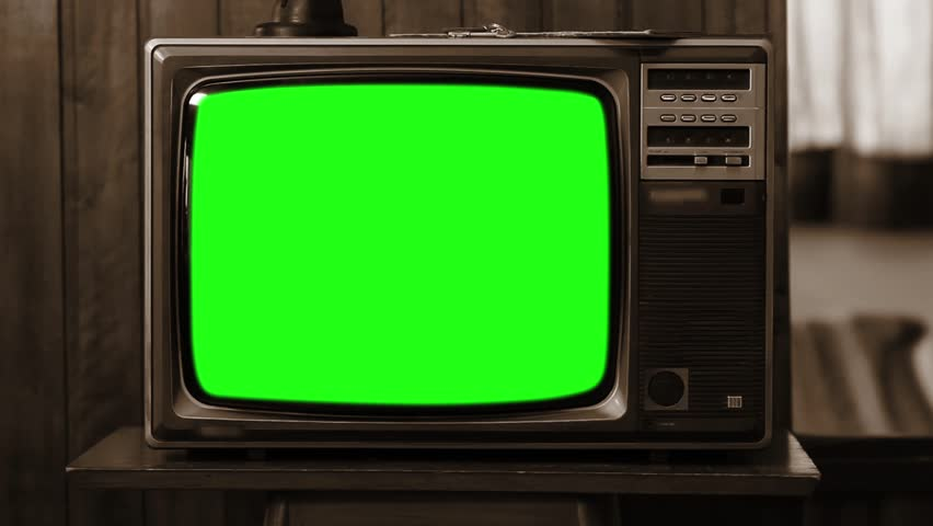"1980s or 90s TV Green Screen. Sepia Tone. Zoom Out. You can Replace Green Screen with the Footage or Picture you Want with ""Keying"" effect in After Effects (check out tutorials on YouTube). 