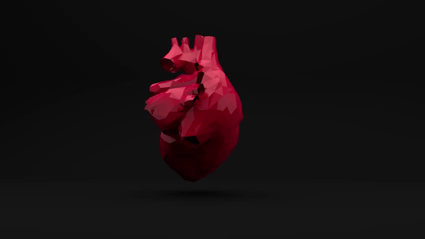 The red polygon heart beats. Computer three-dimensional graphics. Slow rotation of the object. | Shutterstock HD Video #1008701755