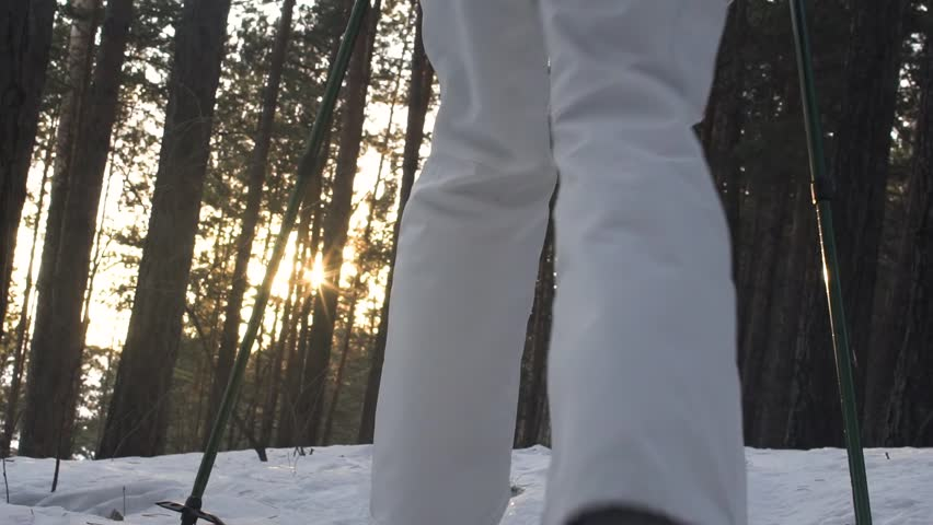 Foot feet steeps. hiking walking. slow motion. snow winter landscape. recreation activity. holiday vacation tourism. people persons. outdoors sports. | Shutterstock HD Video #1008711115