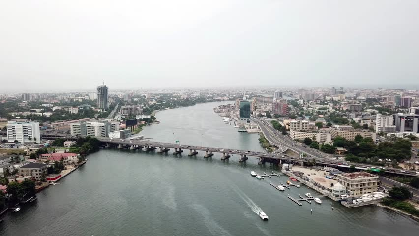Aerial view of Lagos Lagoon, Nigeria | Shutterstock HD Video #1008719435
