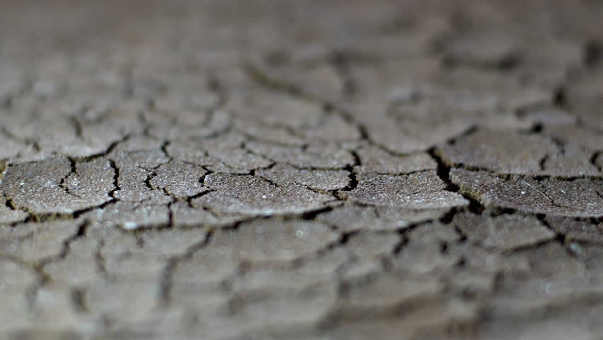 Rain Drops on dry soil slow motion