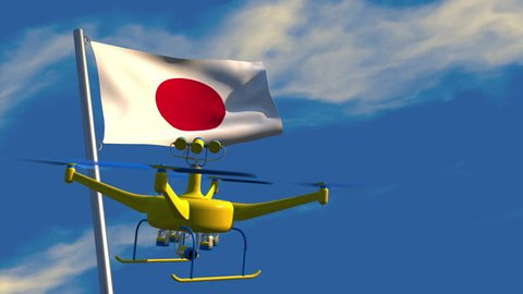 3D animation of a UAV drone watching a Japanese flag waving on a flagpole; depicting the increased use of surveillance for security purposes.